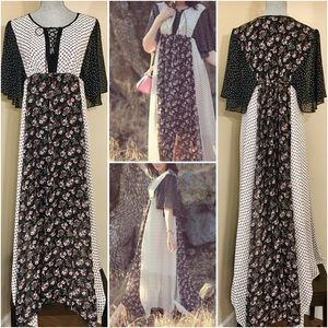 Boho Mixed Print Maxi Dress